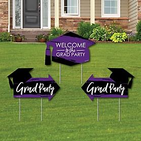 Purple Grad - Best is Yet to Come - 2 Purple Graduation Party Arrows and 1 Welcome / Thank You Lawn Sign - Double Sided Grad Yard Sign Set - 3 Pieces