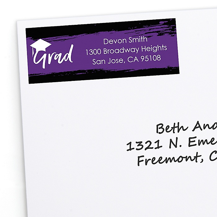 Purple Grad - Best is Yet to Come - Personalized Graduation Return Address Labels - 30 ct