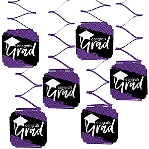Purple Grad - Best is Yet to Come - Graduation Party Hanging Decorations - 6 ct