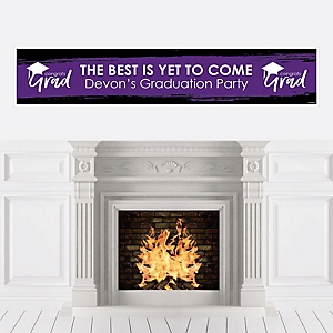 Purple Grad - Best is Yet to Come - Personalized Purple Graduation Party Banner