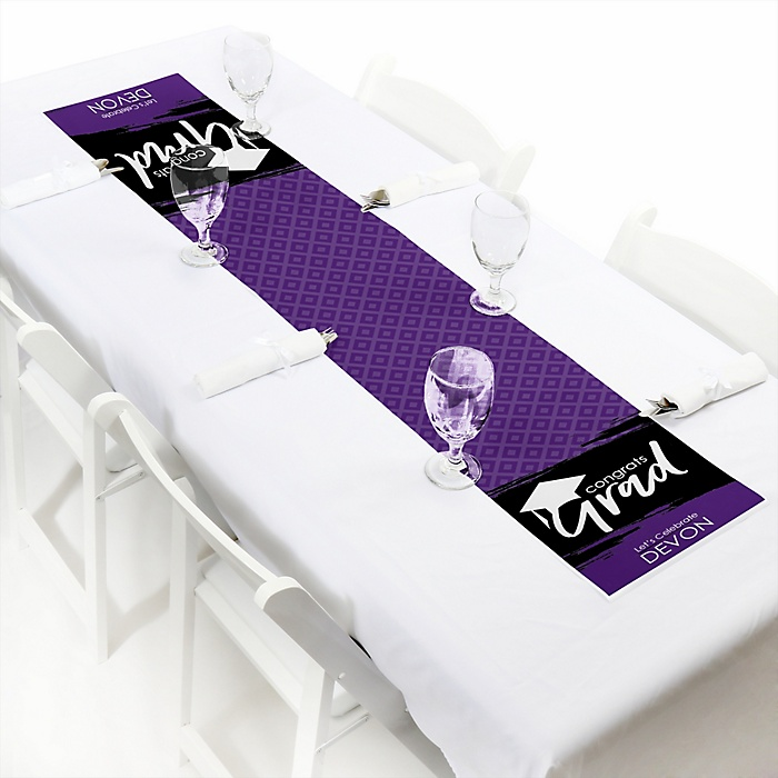 Purple Grad - Best is Yet to Come  - Personalized Graduation Party Petite Table Runner