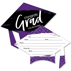 Purple Grad - Best is Yet to Come - Shaped Fill-In Invitations - Graduation Party Invitation Cards with Envelopes - Set of 12