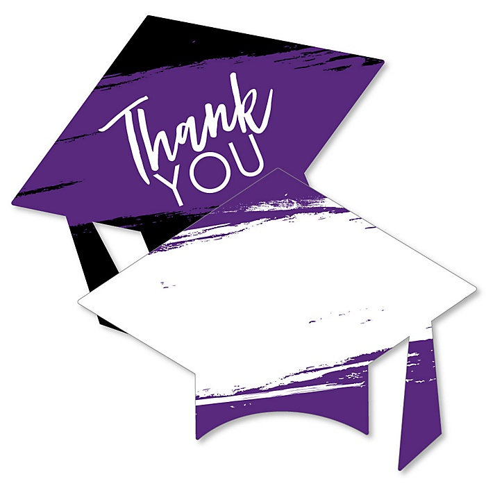 Purple Grad - Best is Yet to Come - Shaped Thank You Cards - Purple Graduation Party Thank You Note Cards with Envelopes - Set of 12