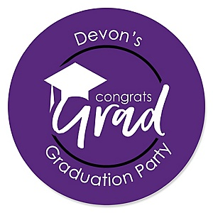 Purple Grad - Best is Yet to Come - Personalized Graduation Sticker Labels - 24 ct