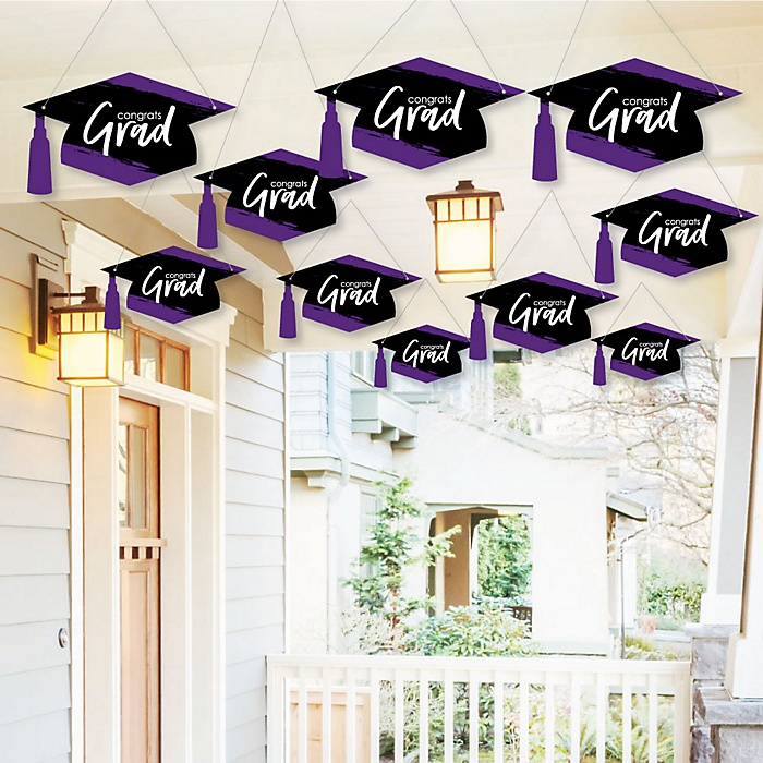 Hanging Purple Grad - Best is Yet to Come - Outdoor Graduation Party Hanging Porch & Tree Yard Decorations - 10 Pieces