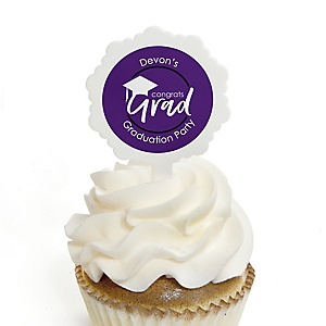 Purple Grad - Best is Yet to Come - Personalized Graduation Cupcake Pick and Sticker Kit - 12 ct