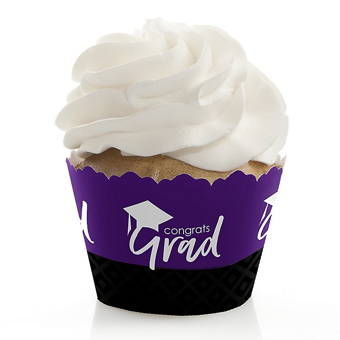Purple Grad - Best is Yet to Come - Graduation Decorations - Party Cupcake Wrappers - Set of 12