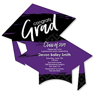 Purple Grad - Best is Yet to Come - Personalized 2019 Graduation Invitations - Set of 12