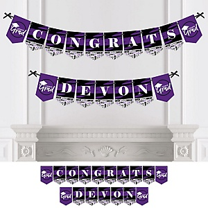 Purple Grad - Best is Yet to Come - Personalized 2019 Graduation Party Bunting Banner & Decorations