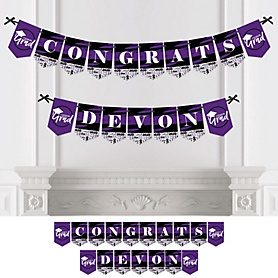 Purple Grad - Best is Yet to Come - Personalized 2020 Graduation Party Bunting Banner & Decorations