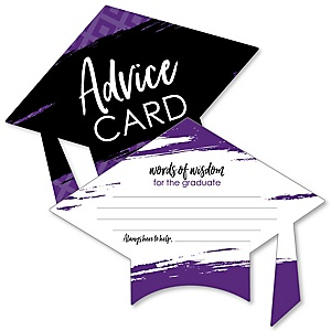 Purple Grad - Best is Yet to Come - Purple Grad Cap Wish Card Graduation Party Activities - Shaped Advice Cards Games - Set of 20