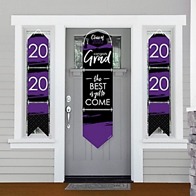Purple Grad - Best is Yet to Come - Hanging Porch Front Door Signs - 2020 Purple Graduation Party Banner Decoration Kit - Outdoor Door Decor