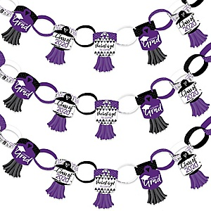 Purple Grad - Best is Yet to Come - 90 Chain Links and 30 Paper Tassels Decoration Kit - 2020 Purple Graduation Party Paper Chains Garland - 21 feet