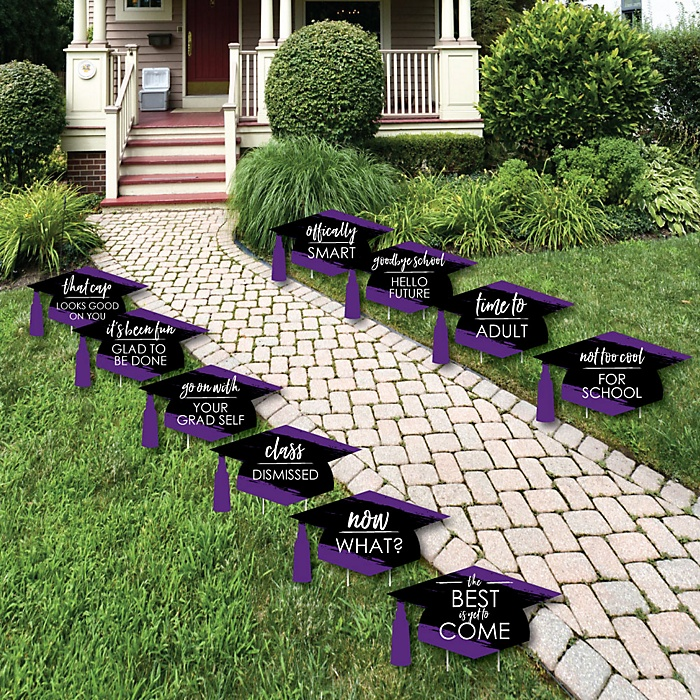 Purple Grad - Best is Yet to Come - Grad Cap Lawn Decorations - Outdoor Purple Graduation Party Yard Decorations - 10 Piece