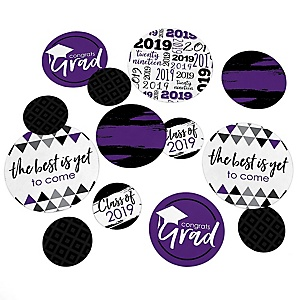 Purple Grad - Best is Yet to Come - 2019 Graduation Party Giant Circle Confetti - Purple Grad Party Decorations - Large Confetti 27 Count