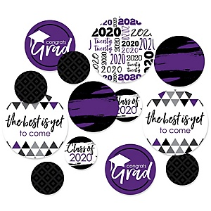 Purple Grad - Best is Yet to Come - 2020 Graduation Party Giant Circle Confetti - Purple Grad Party Decorations - Large Confetti 27 Count