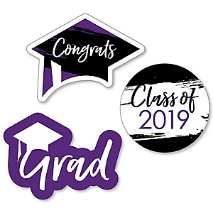 Purple Grad - Best is Yet to Come - DIY Shaped 2019 Graduation Party Paper Cut-Outs - 24 ct