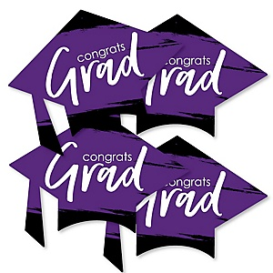 Purple Grad - Best is Yet to Come - Grad Cap Decorations DIY Purple Graduation Party Essentials - Set of 20