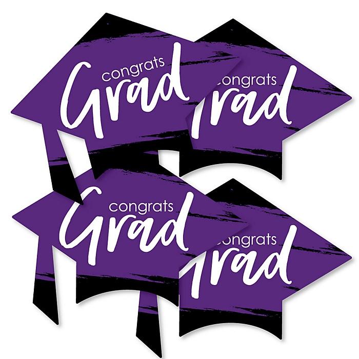 Purple Grad - Best is Yet to Come - Grad Cap Decorations DIY Purple Graduation Party Essentials - Set of 20