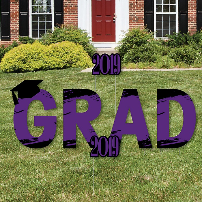GRAD - Purple Grad - Best is Yet to Come - Yard Sign Outdoor Lawn Decorations - Purple 2019 Graduation Party Yard Signs
