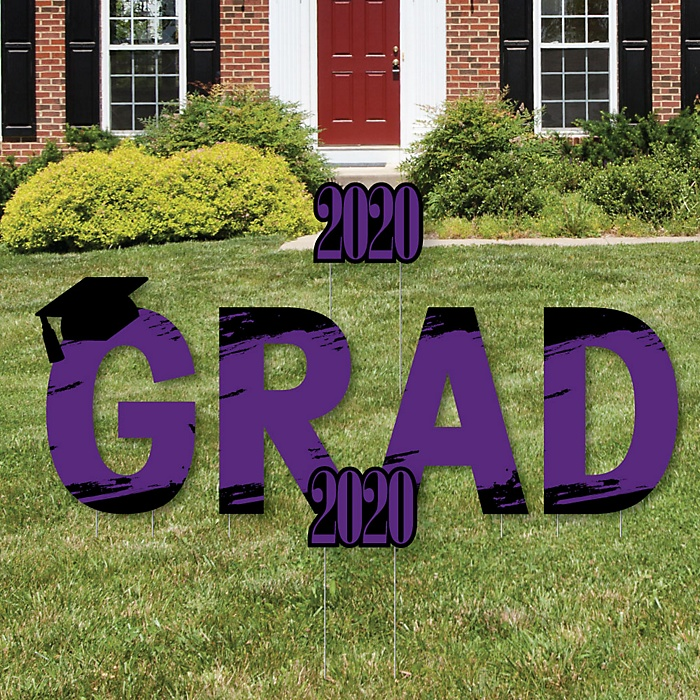 GRAD - Purple Grad - Best is Yet to Come - Yard Sign Outdoor Lawn Decorations - Purple 2020 Graduation Party Yard Signs