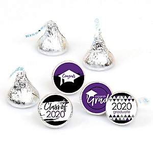 Purple Grad - Best is Yet to Come - Round Candy Labels 2020 Graduation Party Favors - Fits Hershey's Kisses 108 ct