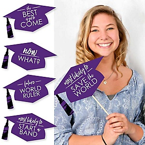 Hilarious Purple Grad - Best is Yet to Come - 20 Piece Purple Graduation Party Photo Booth Props Kit