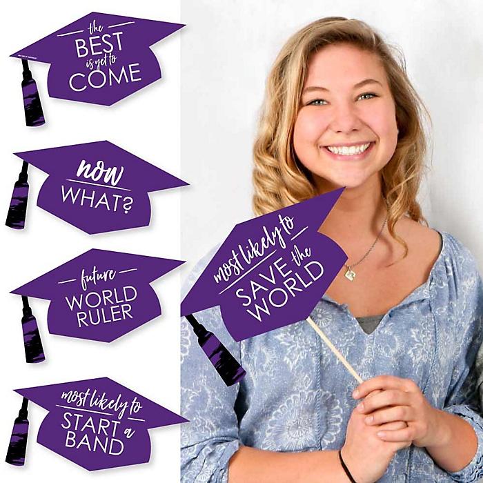 Hilarious Purple Grad - Best is Yet to Come - 20 Piece Purple Graduation Party Photo Booth Props Kit