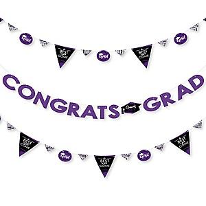 Purple Grad - Best is Yet to Come - 2019 Purple Graduation Party Letter Banner Decoration - 36 Banner Cutouts and Congrats Grad Banner Letters