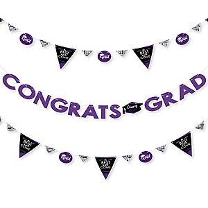 Purple Grad - Best is Yet to Come - 2020 Purple Graduation Party Letter Banner Decoration - 36 Banner Cutouts and Congrats Grad Banner Letters