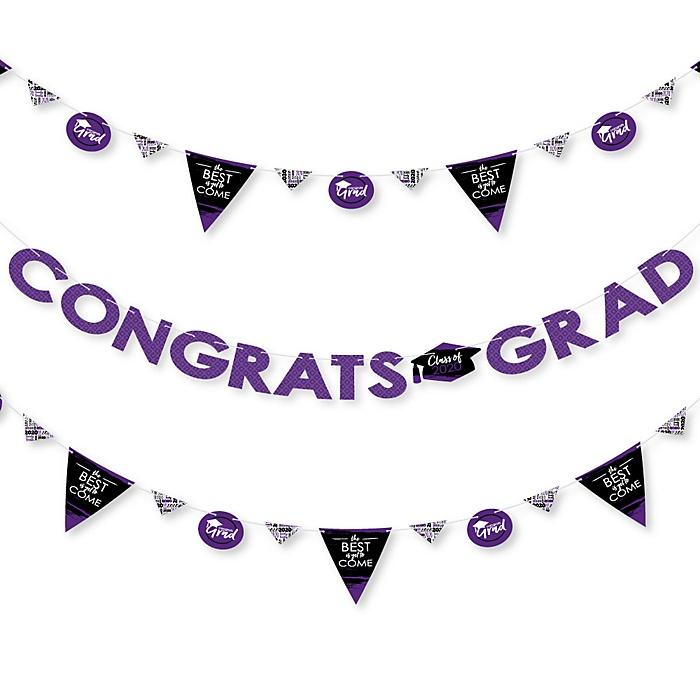 Purple Grad - Best is Yet to Come - 2020 Purple Graduation Party Letter Banner Decoration - 36 Banner Cutouts and Congrats Grad Banner Letters