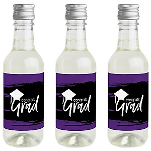 Purple Grad - Best is Yet to Come - Mini Wine and Champagne Bottle Label Stickers - Purple Graduation Party Favor Gift - Set of 16