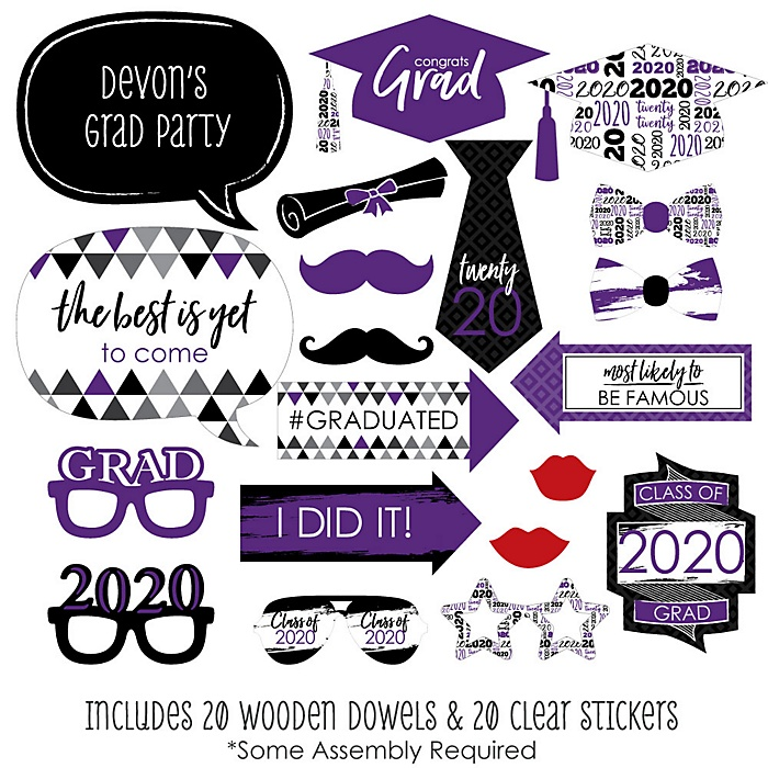 Purple Grad - Best is Yet to Come - 20 Piece 2020 Graduation Party Photo Booth Props Kit