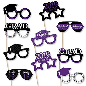 Purple Grad Glasses - Best is Yet to Come - Purple 2019 Paper Card Stock Graduation Party Photo Booth Props Kit - 10 Count