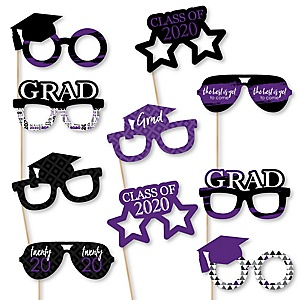 Purple Grad Glasses - Best is Yet to Come - Purple 2020 Paper Card Stock Graduation Party Photo Booth Props Kit - 10 Count