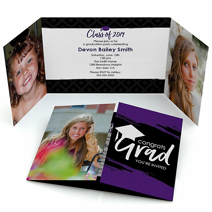 Purple Grad - Best is Yet to Come - Personalized Photo 2019 Graduation Invitations - Set of 12