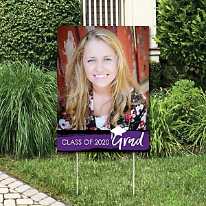 Purple Grad - Best is Yet to Come - Photo Yard Sign - Purple 2020 Graduation Party Decorations