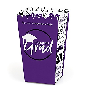 Purple Grad - Best is Yet to Come - Personalized 2019 Graduation Popcorn Favor Treat Boxes - Set of 12