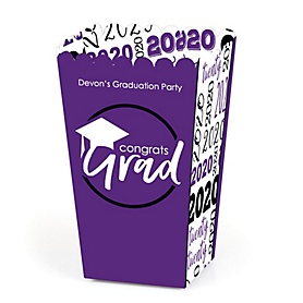 Purple Grad - Best is Yet to Come - Personalized 2020 Graduation Popcorn Favor Treat Boxes - Set of 12