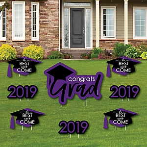 Purple Grad - Best is Yet to Come - Yard Sign & Outdoor Lawn Decorations – 2019 Graduation Party Yard Signs - Set of 8