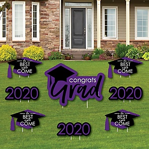 Purple Grad - Best is Yet to Come - Yard Sign & Outdoor Lawn Decorations – 2020 Graduation Party Yard Signs - Set of 8