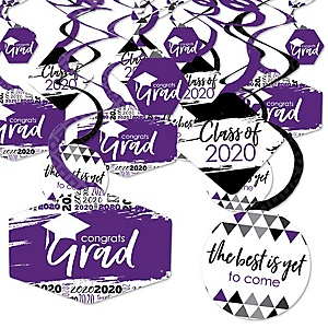 Purple Grad - Best is Yet to Come - 2020 Purple Graduation Party Hanging Decor - Party Decoration Swirls - Set of 40