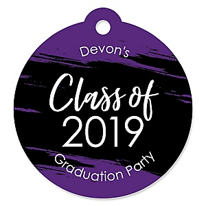 Purple Grad - Best is Yet to Come - Round Personalized 2019 Graduation Party Die-Cut Tags - 20 ct