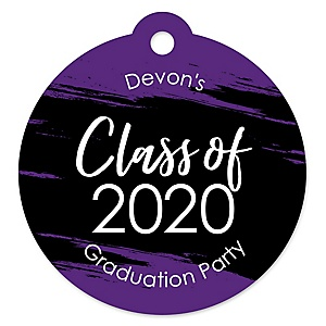 Purple Grad - Best is Yet to Come - Round Personalized 2020 Graduation Party Die-Cut Tags - 20 ct