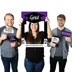 Purple Grad - Best is Yet to Come - Personalized Graduation Party Selfie Photo Booth Picture Frame & Props - Printed on Sturdy Material