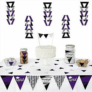 Purple Grad - Best is Yet to Come -  Triangle Graduation Party Decoration Kit - 72 Piece