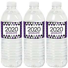 Purple Grad - Best is Yet to Come - 2020 Purple Graduation Party Water Bottle Sticker Labels - Set of 20