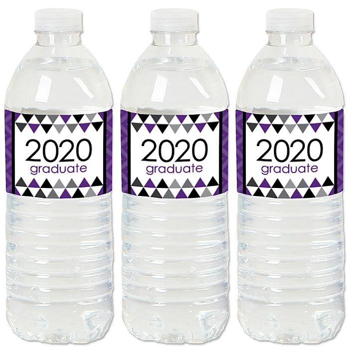 Purple Grad - Best is Yet to Come - 2020 Purple Graduation Party Water Bottle Sticker Labels - Set of 20