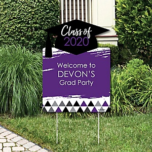 Purple Grad - Best is Yet to Come - Party Decorations - 2020 Graduation Party Personalized Welcome Yard Sign