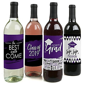 Purple Grad - Best is Yet to Come - 2019 Graduation Decorations for Women and Men - Wine Bottle Label Stickers - Set of 4